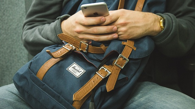 backpack and cell phone